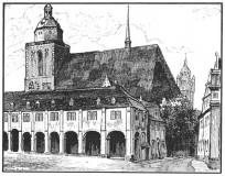 Blick auf die Schlosskirche mit den Buden 1920 schwarz-weiß
